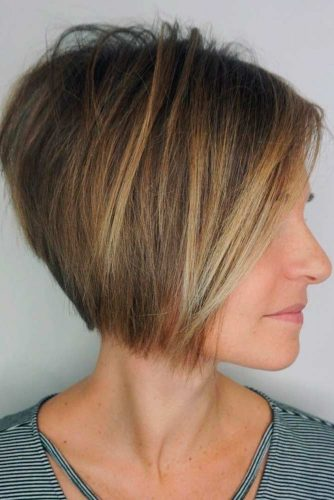 Tousled Straight Cropped Inverted Bob With Balayage #balayagehair #highlights