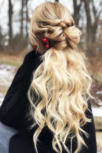 Twisted, Wavy Half Up Hairstyle With Accessories #halfup #thinhair