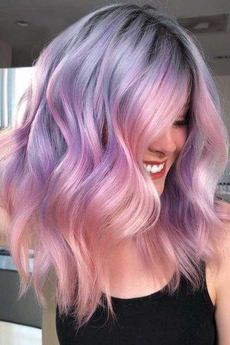 Two-Toned Hair Color Trend #longbob #wavyhair #rosegoldhair #purplehair