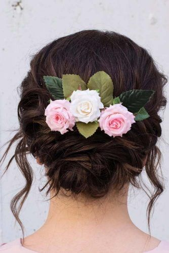 Updo Hairstyle With Roses Accessory #updohairstyles #hairaccessory
