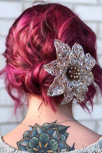 Updo Hairstyle With Side Flower Accessory #hairaccessory #updo