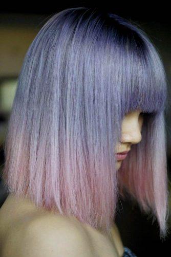 Violet Blunt Lob With Bangs #longbob #bobhaircut #haircuts #bangs #bluntbob
