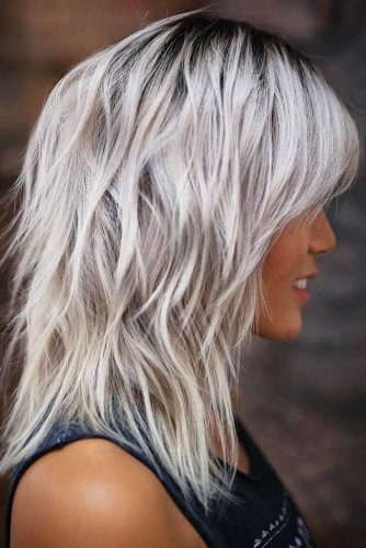 Voluminous Long Silver Bob With Bangs #mediumhair #wavyhair #layeredhair