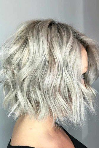 Wavy Bob Hairstyles Silver Color  #shorthair #shorthairstyles #bobhaircut #bobhairstyles #silverhair