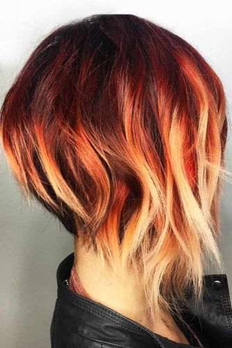 Yellow Red Ombre Balck Roots #brunette #redhair #ombre