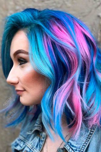 Bright Colored Hairstyle #colorfulhair #wavyhairstyle
