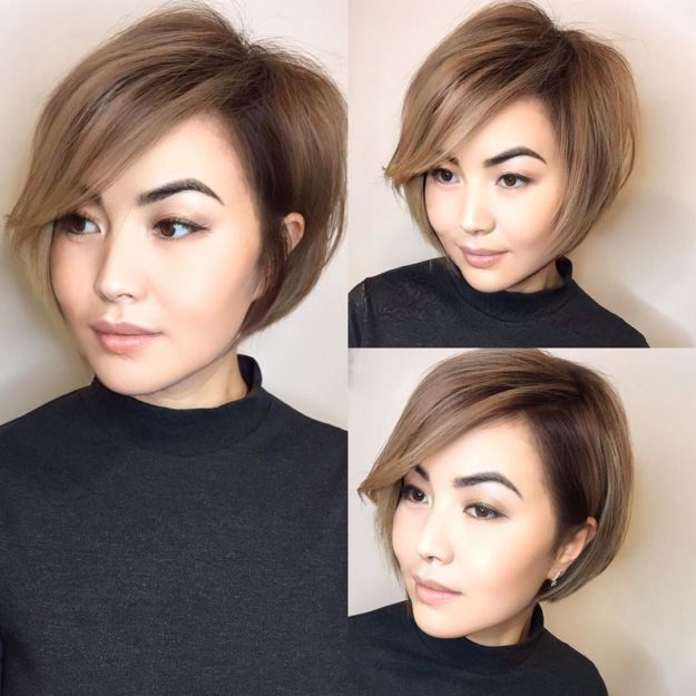 Short Wispy Bob For A Round Face