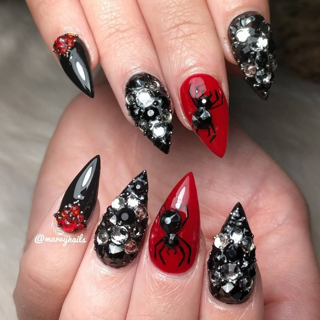 Amazing Black with Crystals Halloween Nails with Accent Spiderweb Red Nail