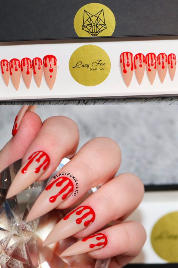Amazing bloody Halloween press on nails!