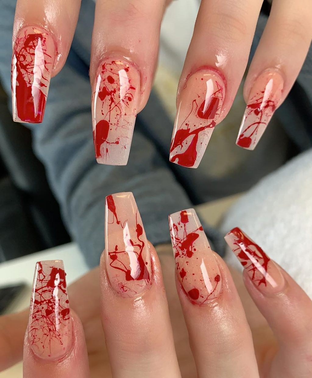 Amazing Bloody Nude Coffin Shaped Halloween Nails