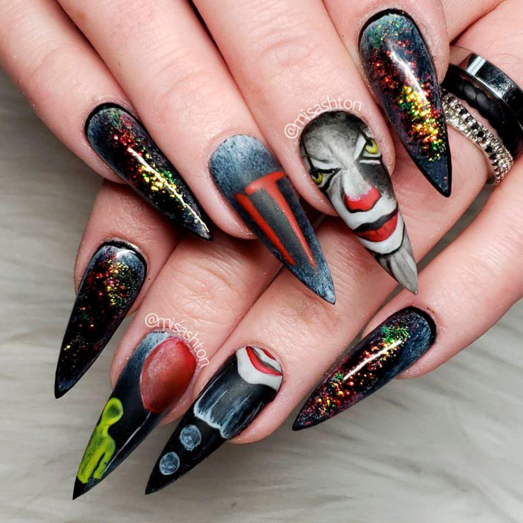 Amazing Clown Halloween Stiletto Nails