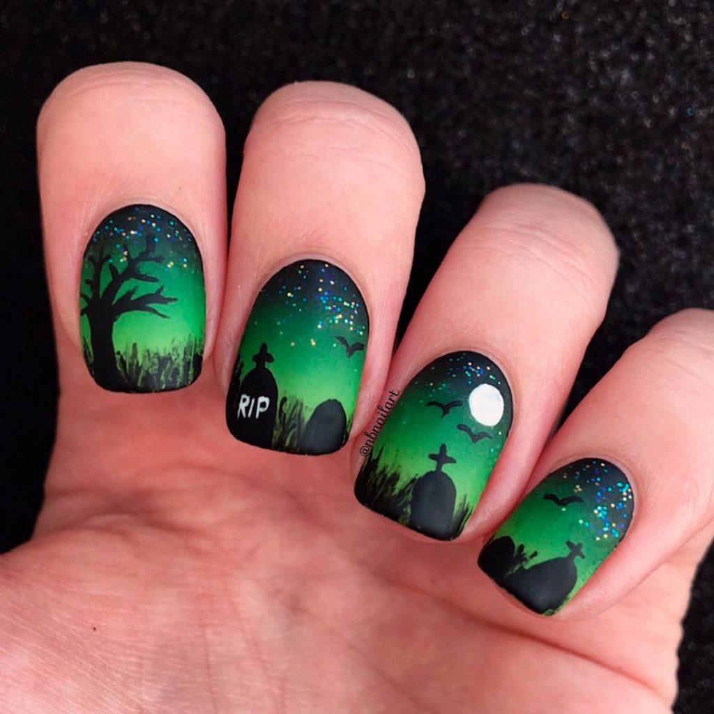Amazing Green Tombstone Halloween Nails