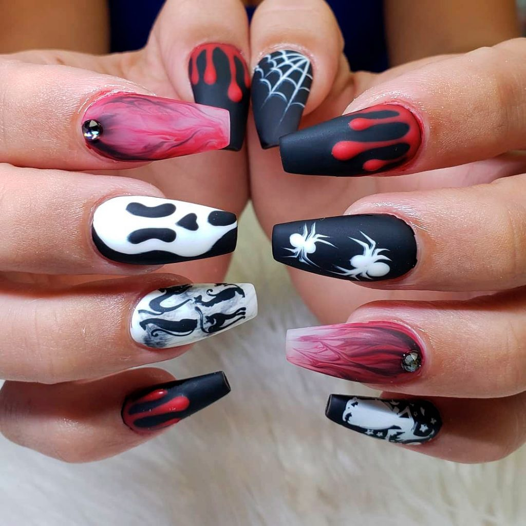 Amazing Miscellaneous Coffin Shaped Halloween Nails