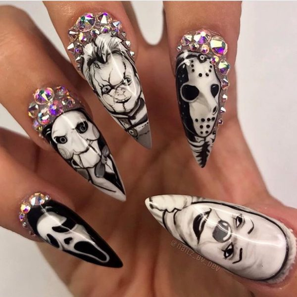 Amazing Serial Killers Halloween Press On Nails