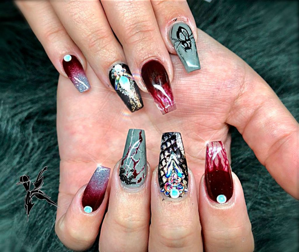 Bloody Coffin Shaped Halloween Nail Idea