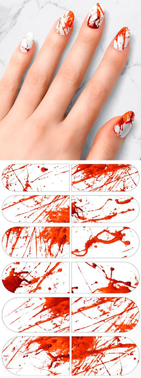 Bloody Halloween nail art stickers!