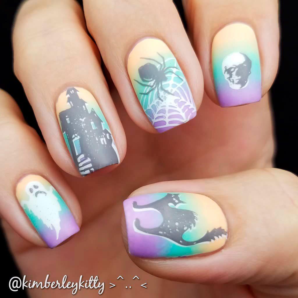 Creepy Pastel Halloween Acrylic Nails!