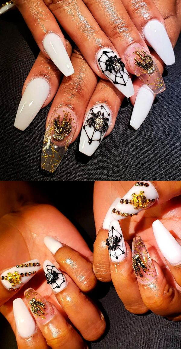 Creepy spider web Halloween coffin shaped nails!
