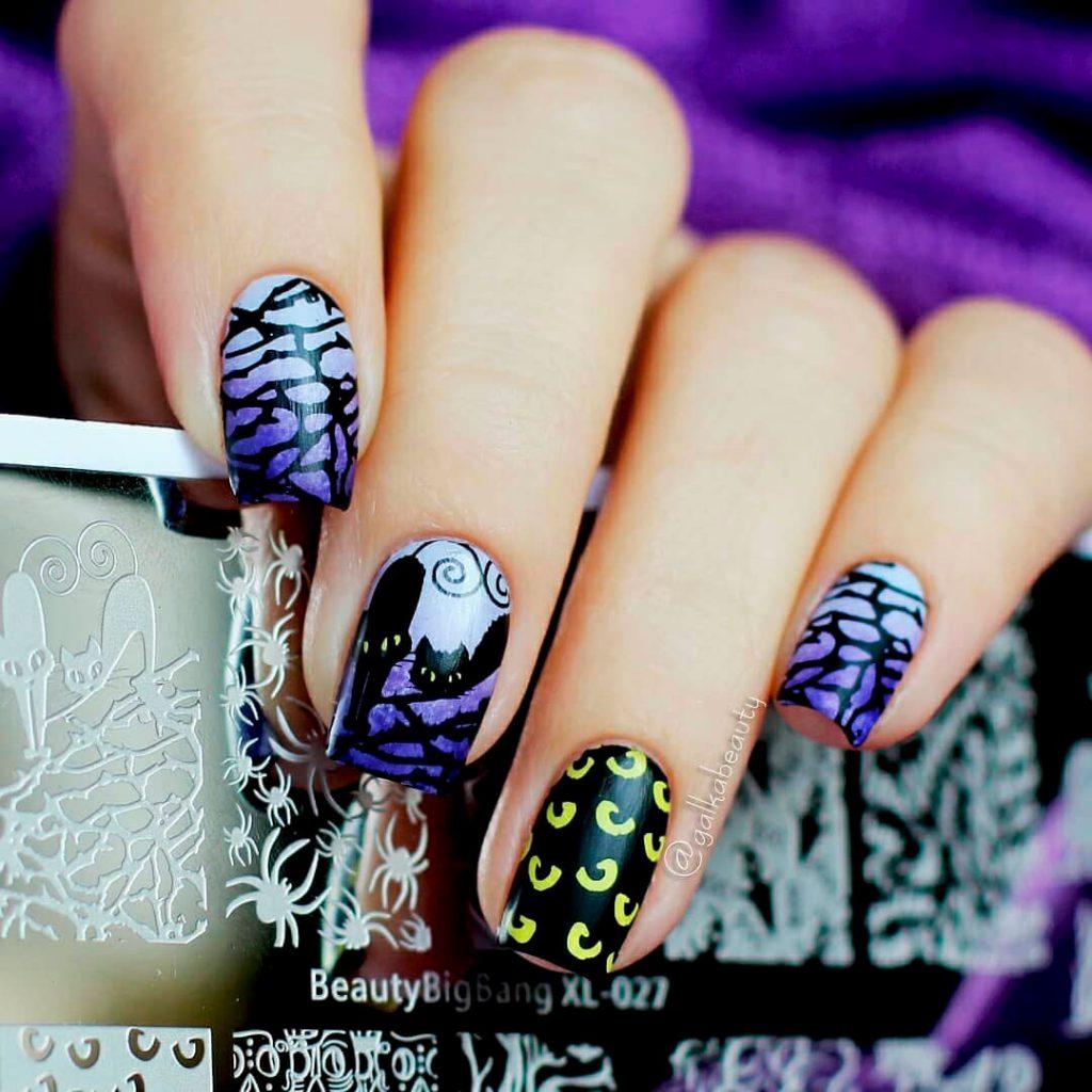 Creepy Squoval Halloween Acrylic Nails