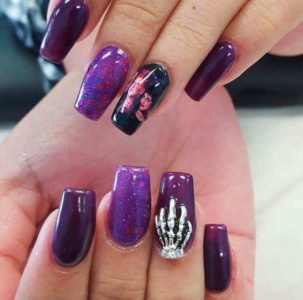 Cute purple Halloween coffin shaped nails!