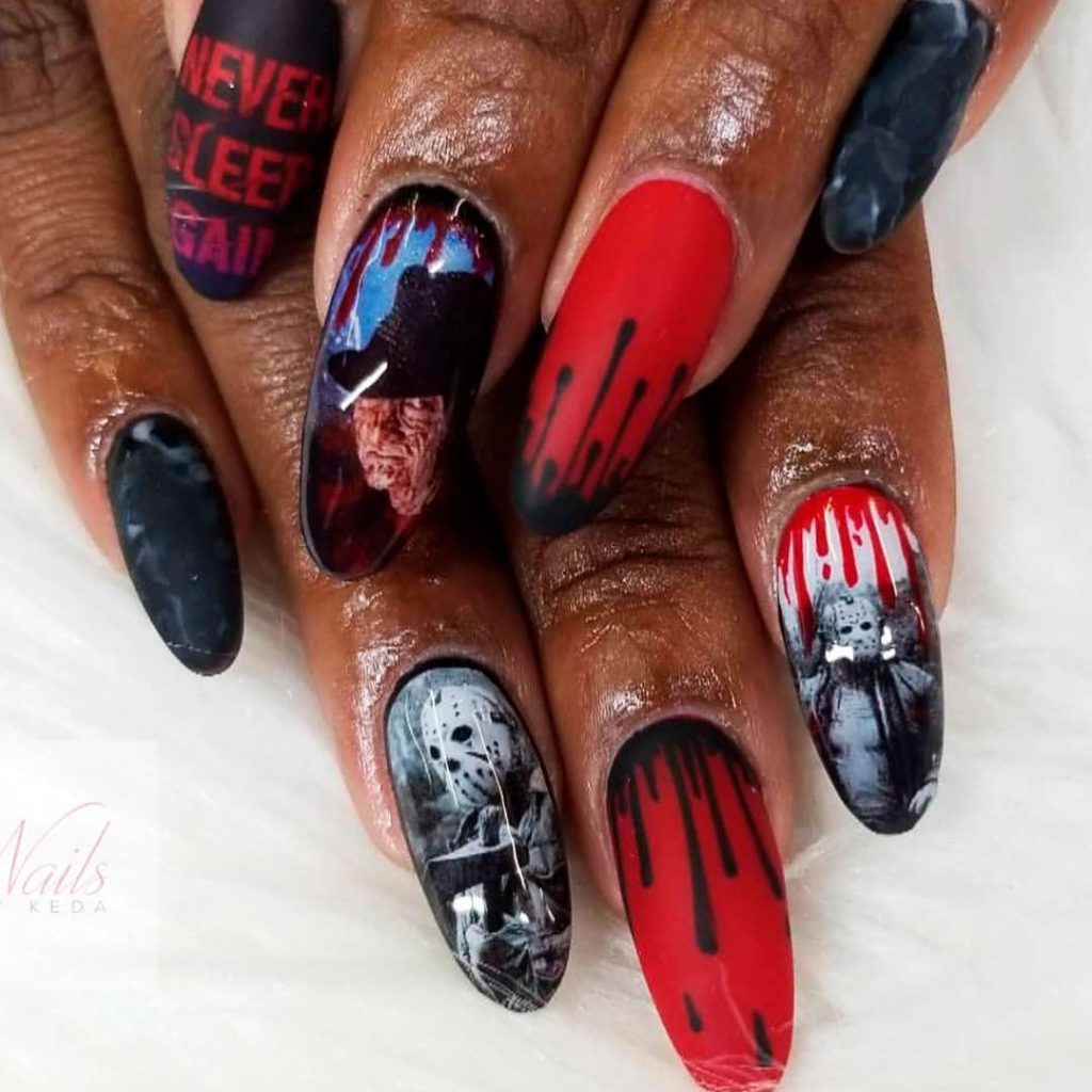 Freddy vs Jason Halloween Press on Nails!