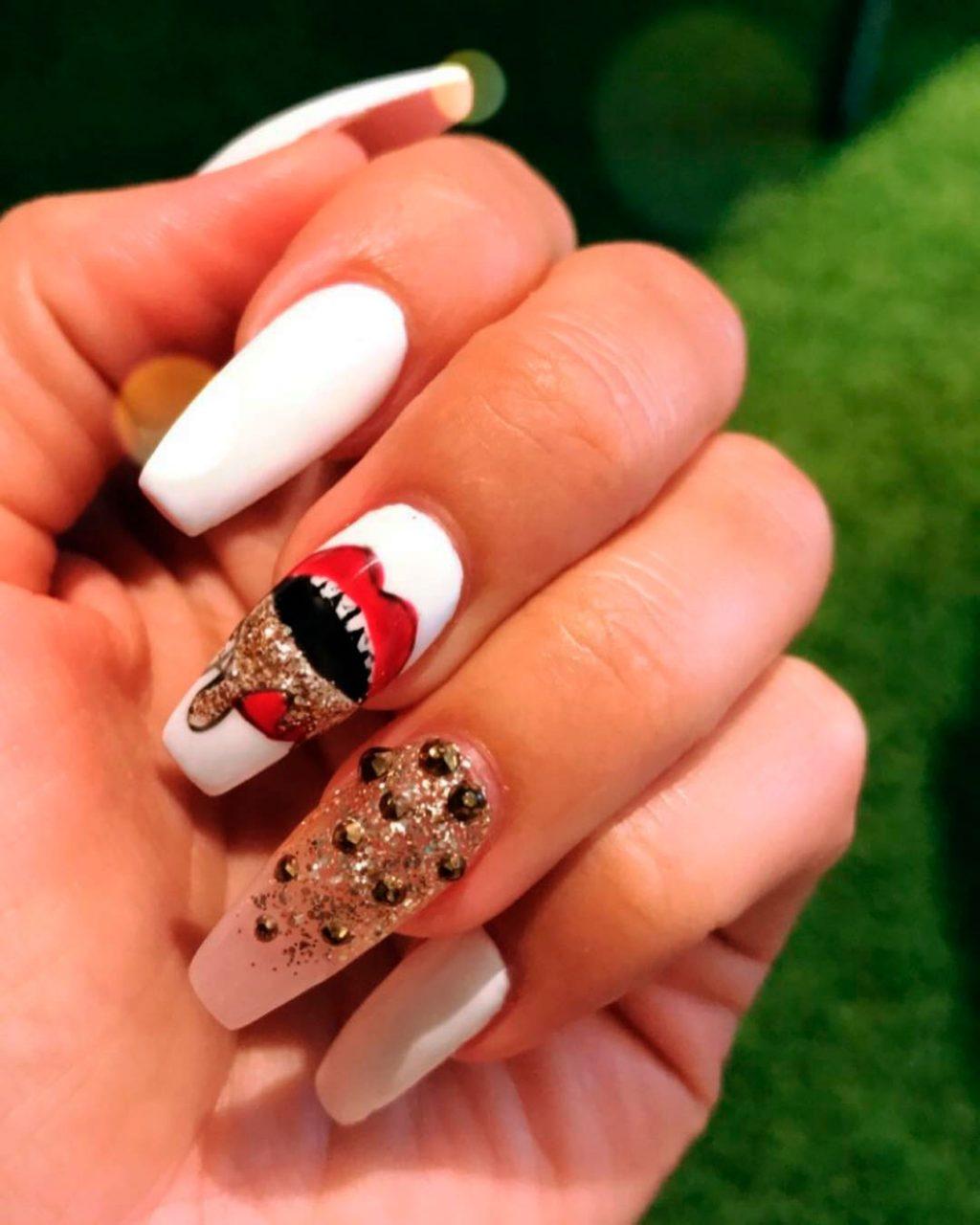 Nice White Halloween Press On Nails