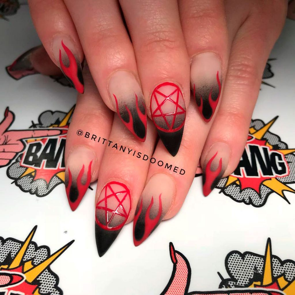 Perfect Magical Short Stiletto Halloween Nails