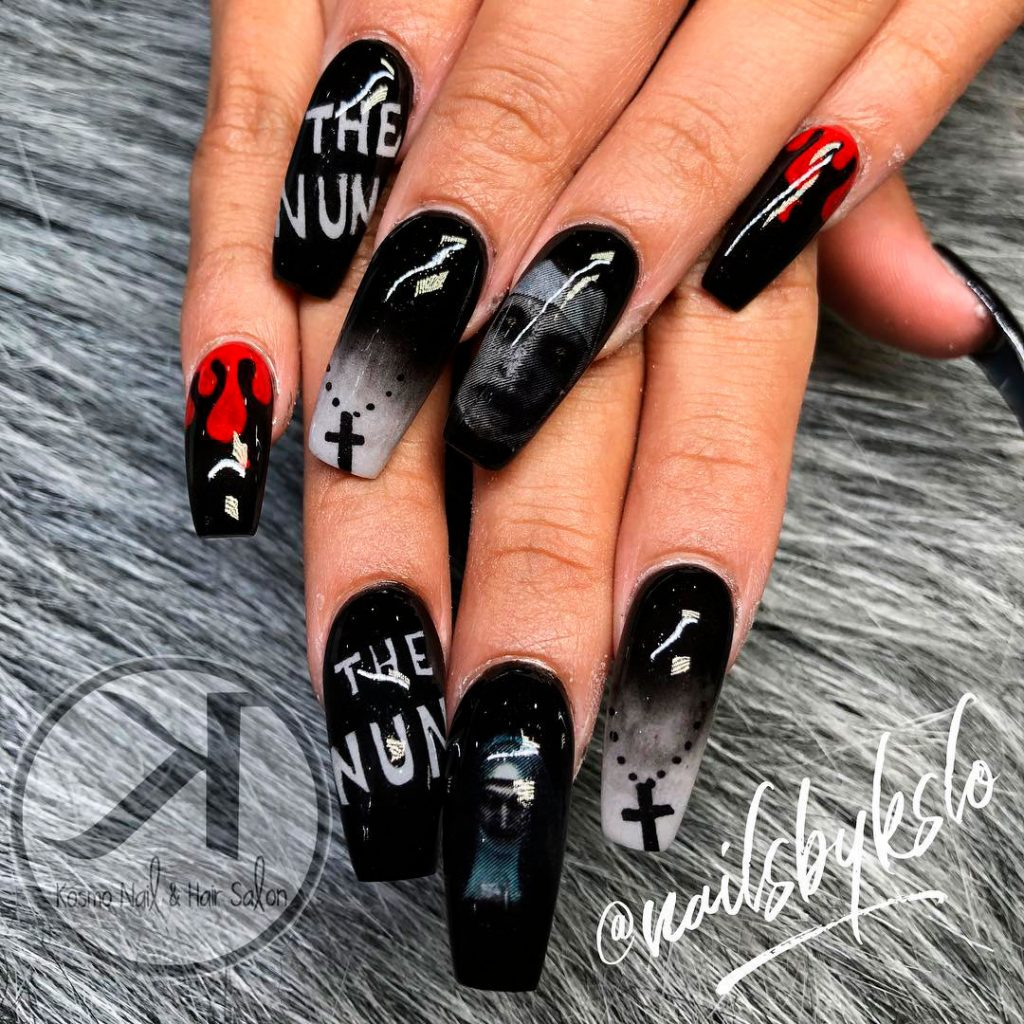 Scary Long Coffin Shaped Halloween Nail