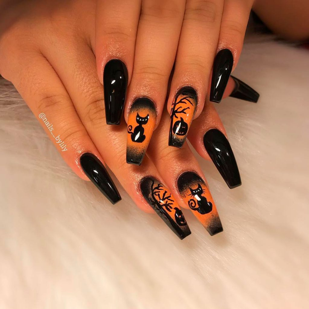 So Beautiful Coffin Shaped Halloween Nails