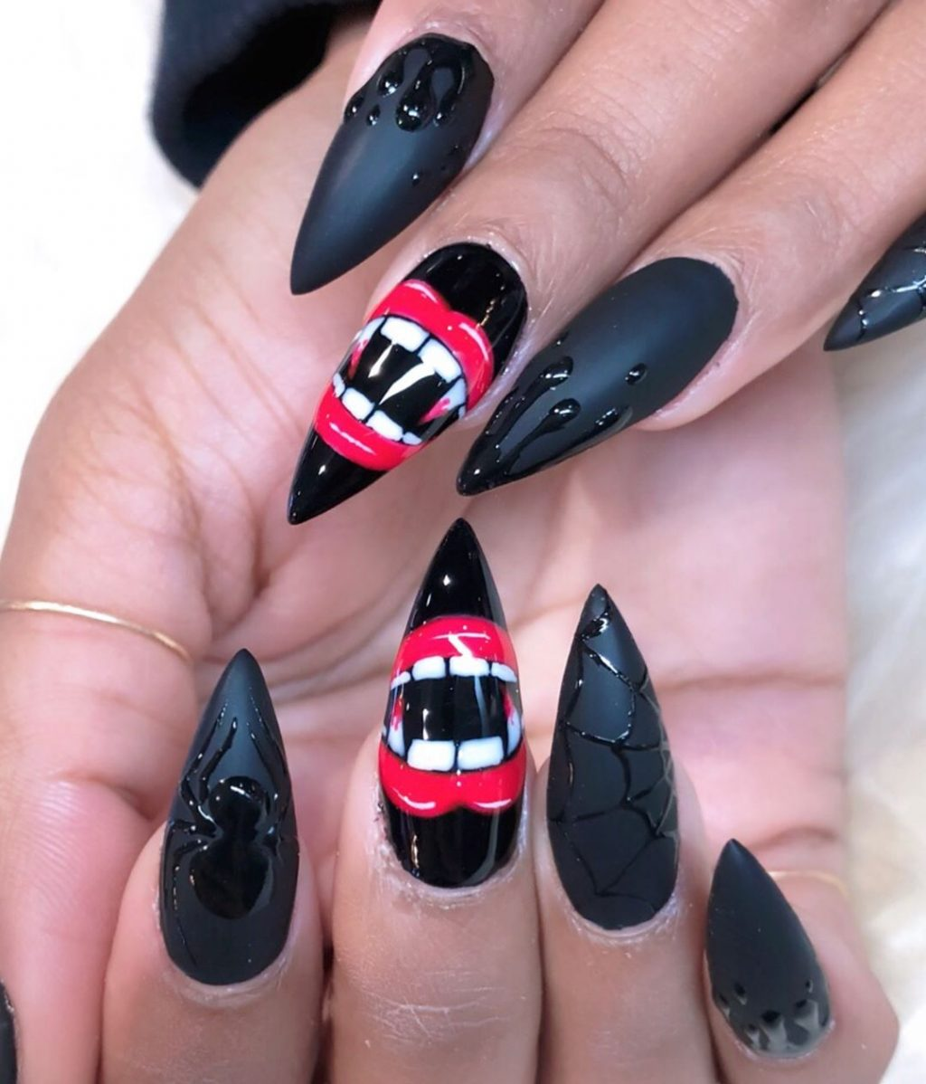 Spooky Black Spiderweb Halloween Press On Nails