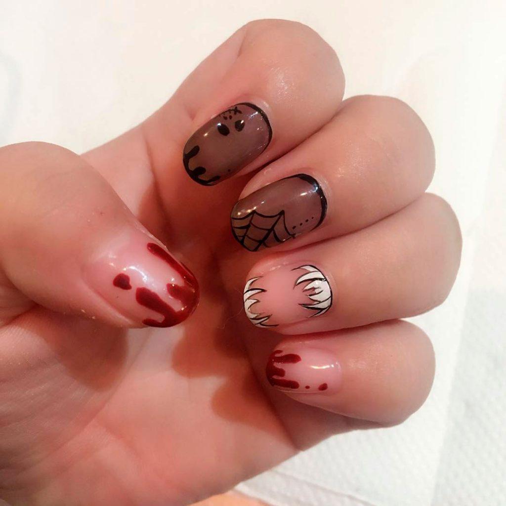 Spooky Short Round Halloween Acrylic Nails