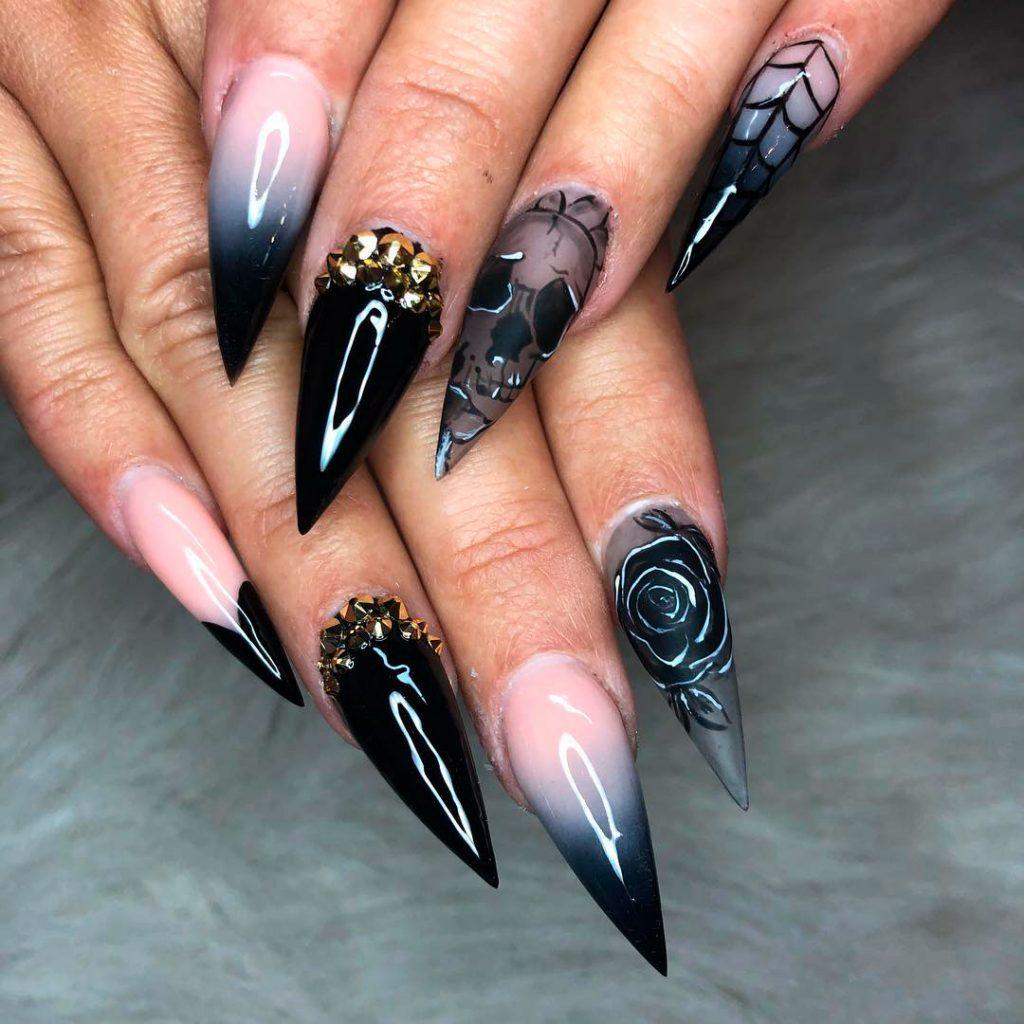 Stunning Black long Stiletto Halloween Nails