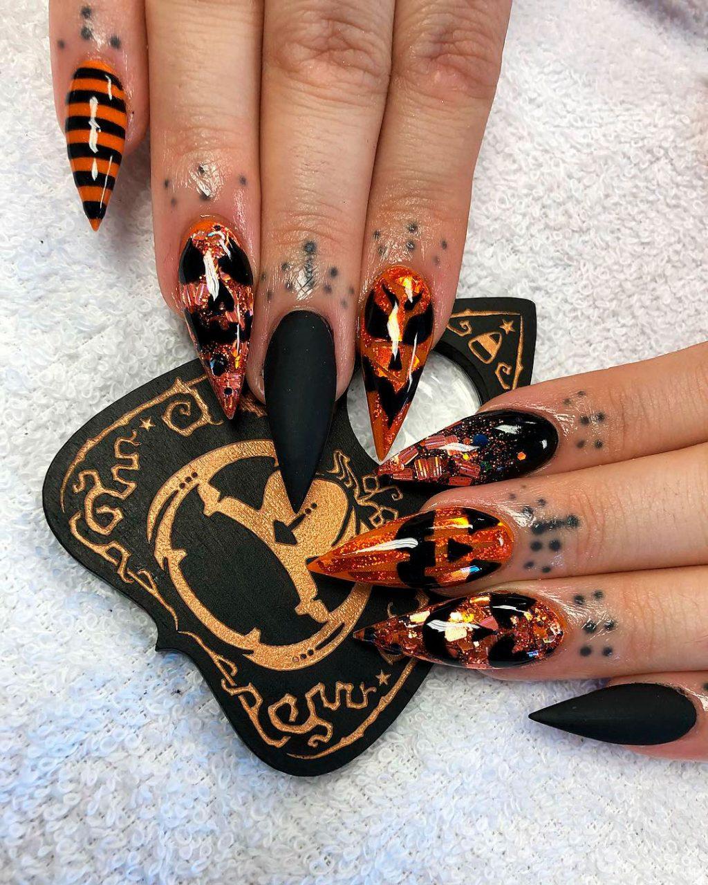Stunning Glitter Pumpkin Nails
