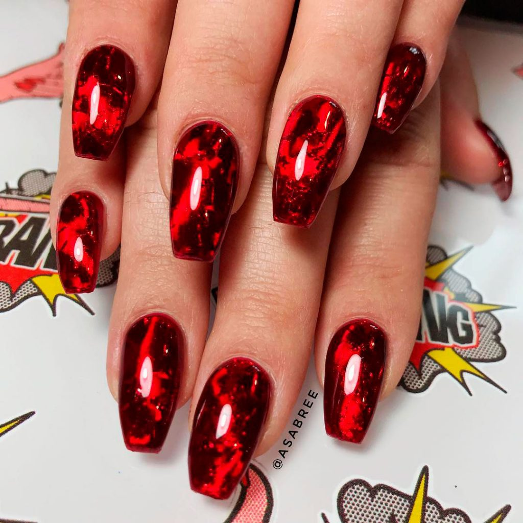 Stunning Halloween Red Glass Gel Nails!