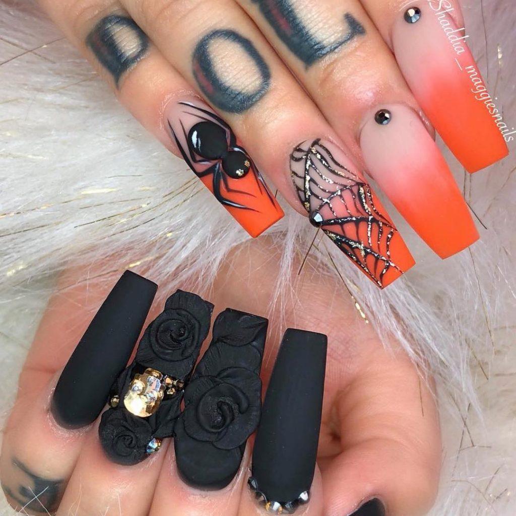 Stunning Ombre Orange Spiderweb & Black Press On Nails