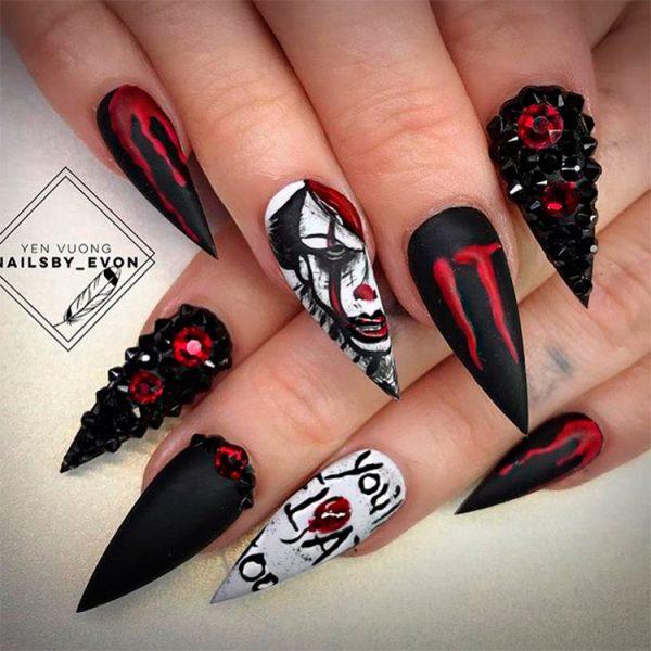 Vampire Halloween Stiletto Nails
