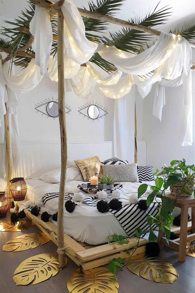 Bedroom Design With Canopy Lights Decor #bohobedroom