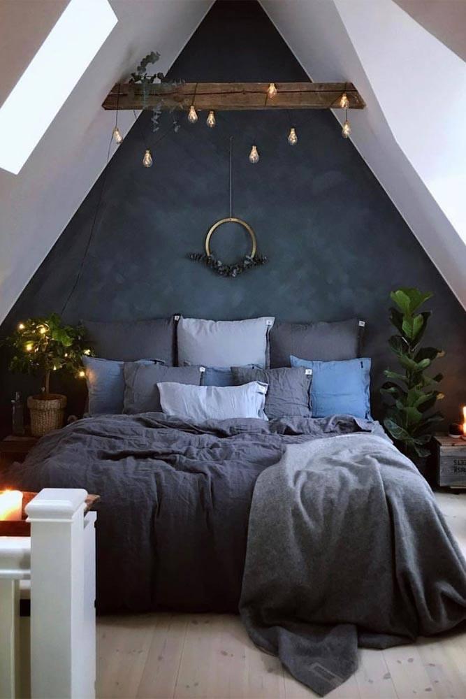 Bedroom Design With Globe String Lights Accent #globestringlights