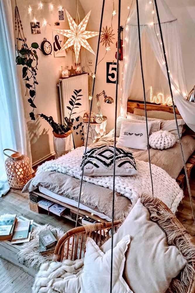 Can You Sleep With Fairy Lights On? #bohobedroom #ornamentpillows