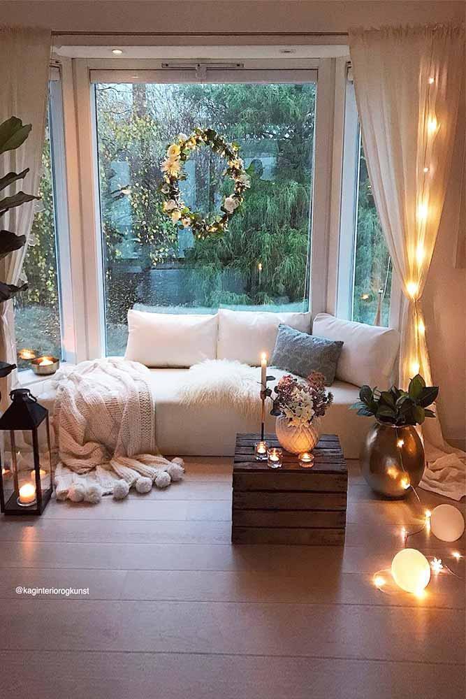 Living Room Interior With String Lights #livingroomdecor