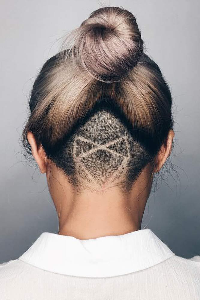 Top Knot Undercut With Geometric Design #updohair #blondehair