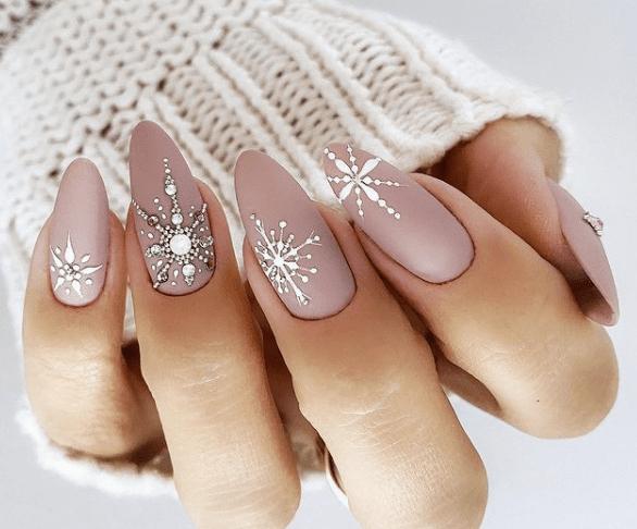 acrylic snowflake nail designs festive