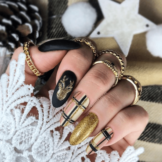 black gold and plaid holiday nail designs