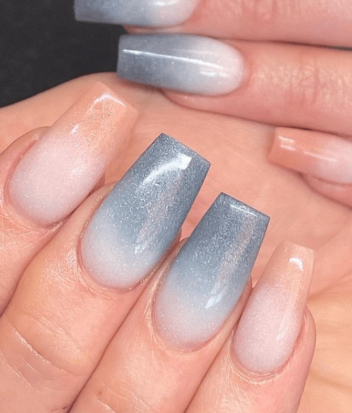 blue and nude ombre winter nail design