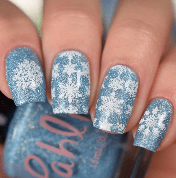 blue and white winter nail designs with snowflakes