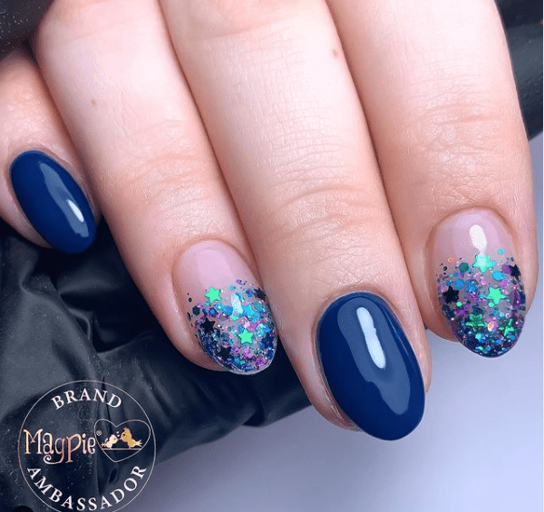 blue glitter winter nail colors