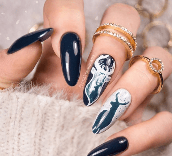 blue reindeer winter nail designs