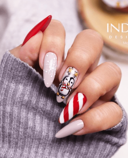 candy cane holiday nail designs