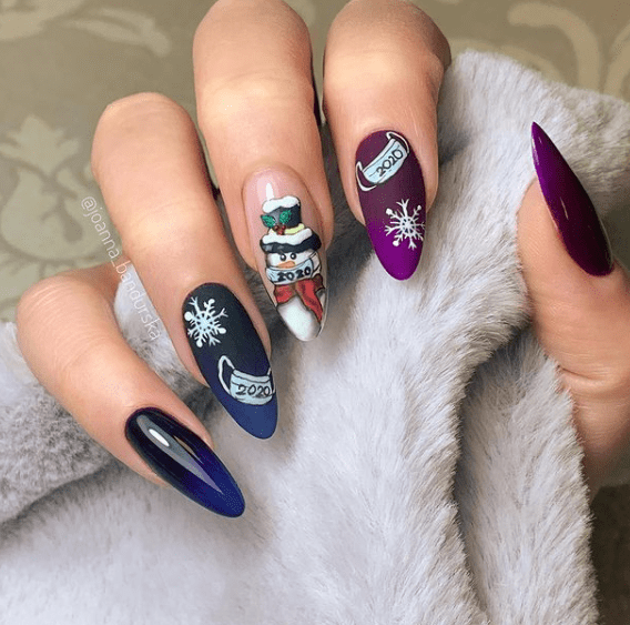 christmas snowman nail art