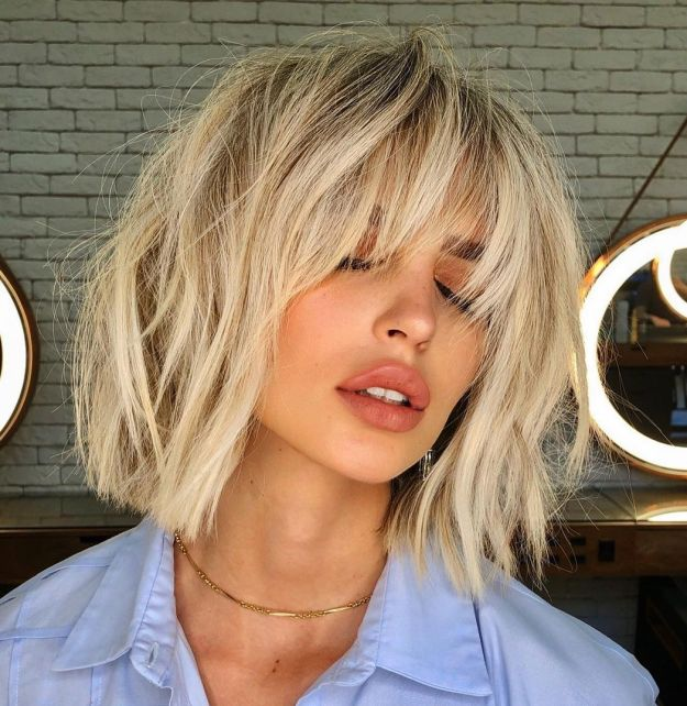 Elongated Feather Cut Bangs with Bob
